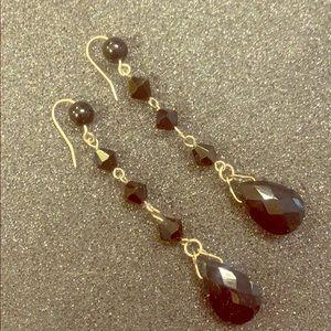 Black/silver bead earrings